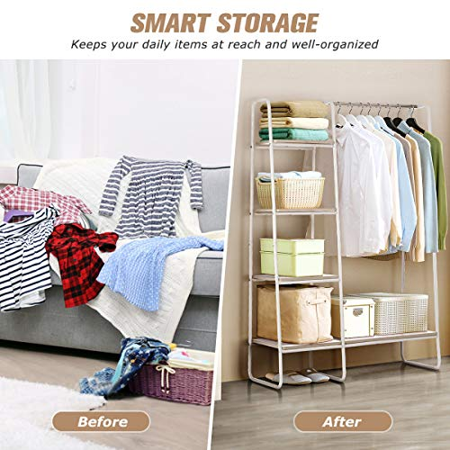 KINGSO Metal Garment Rack with Multi Wood Shelf/Freestanding Storage Clothing Rack/Single Wide Rod/Simple Style/Multi-Functional/Floor Protective Pads/Easy Assembly, White and Light Brown
