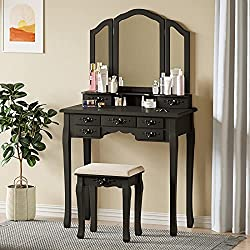 Tiptiper Vanity Table Set, Tri-Folding Mirror Vanity Desk with 8 Necklace Hooks and 7 Drawers for Storage, Makeup Dressing Table with Cushioned Bench