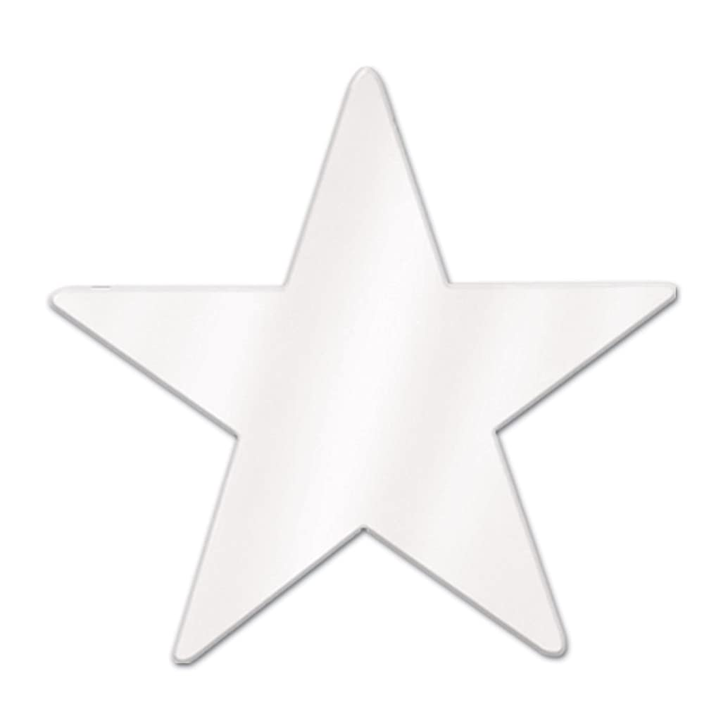 Beistle 57027-W White Metallic Star Cutouts, 3-1/2 Inch, 12 Pieces Per Package