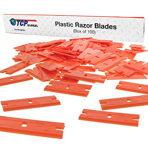 TCP Global 100 Piece Plastic Razor Scraper Blades with Extra Sharp Chisel Edge, Remove Decals, Stickers, Adhesive, Clean Glass