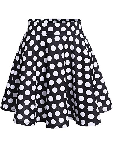 DRESSTELLS Damen Basic Solide Vielseitige Dehnbar Informell Mini Glocken Rock Black White Dot M