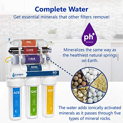 Express Water UV Reverse Osmosis Water Filtration System – 11 Stage UV Water Filter with Faucet and Tank – Under Sink Water Filter with Alkaline Filter for added Essential Minerals 100 GDP