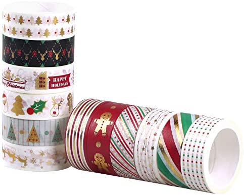 12 Roll Holiday Christmas Washi Tape Set Gold Foil Colored Metallic Masking Decorative Tapes product image