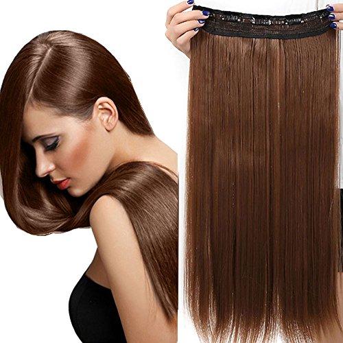 Clip in Extensions Haarverlängerung Haarteil hitzebeständig wie Echthaar Glatt 1 Tresse 5 Clips 23