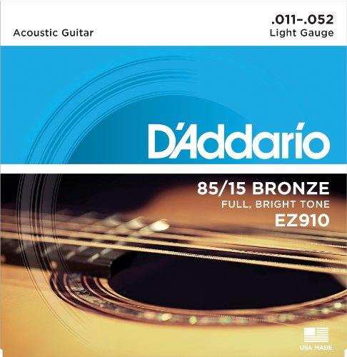 D\'Addario EZ910 Juego de cuerdas para guitarra acústica de bronce, 011\' - 052\'