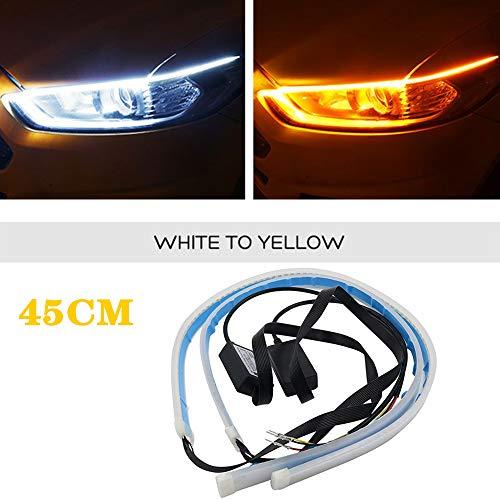 DEFVNSY 1 Juego (2PCS) Superbrillante 45CM 17.7Tiras de LED de Doble Color Blanco y ámbar Luz para DRL Luces de circulación Diurna Que fluyen Amarillo para luz de estacionamiento de señal de Giro