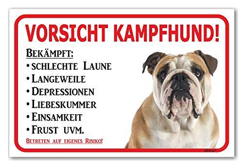 AdriLeo Schild - Vorsicht Englische Bulldogge - Kampfhund - (20x30cm) / Achtung Hund Wachhund