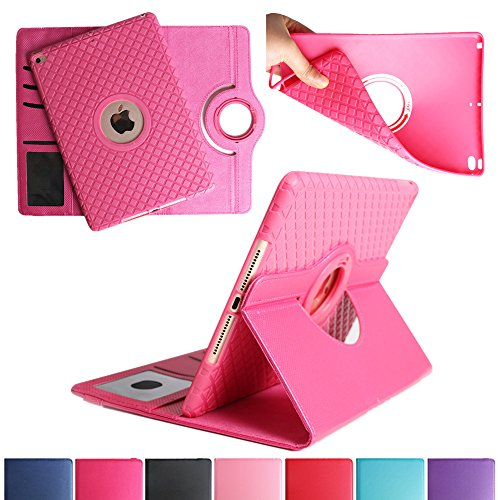 BoriYuan iPad 4&3&2 360 Degree Rotating Stand PU Leather Case Protective Flip Folio Detachable Soft Rubber Cover for Apple iPad 4/ iPad 3/ iPad 2 with Card Slot+Screen Protector+Stylus (Rose Red)