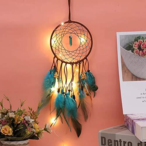 Nice Dream Traumfänger mit LED Licht, Handgemachte Dreamcatcher mit Federn, Maiden Zimmer Schlafzimmer Romantische Dekoration, für Wandbehang Wohnkultur Ornamente Handwerk (Howlith Türkis)
