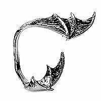 (K) ファッションピアス キャッチピアス スタッドピアス デビルウイング イヤーフックピアス 大きい イヤーラップ 悪魔 翼 耳にかける 片耳 1個販売 シングルピアス 翼 フェザー