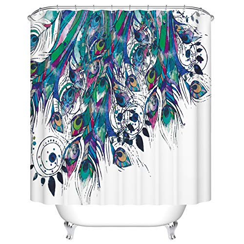 BEEBEE Peacock Feather Shower Curtain for Bathroom Shower Curtain Set with Hooks Bathroom Accessories Polyester Fabric 72 x 72 inches