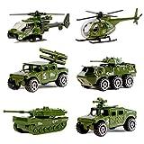 Nunki Toy Druckguss-Militärfahrzeuge, 6er-Pack Verschiedene Spielautos der Militärfahrzeug-Modelle aus Metalllegierung, Spielset des Mini-Militärspielzeugs für Kinder, Kleinkinder und Jungen -