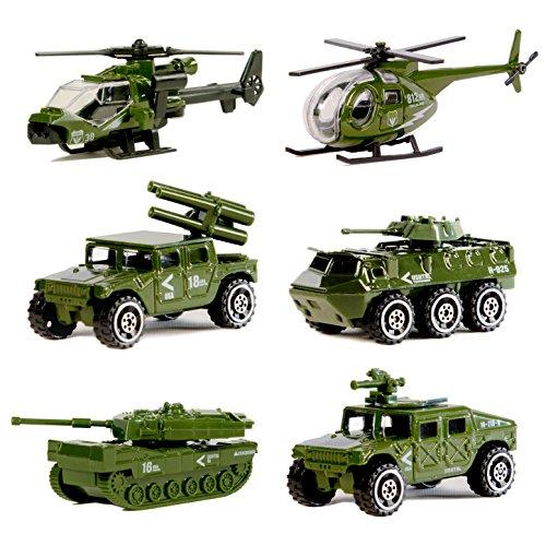 Original Color Véhicules Militaires moulés sous Pression, Mini Jouet Véhicule Armée 6 Pack Assorti Tank, Jeep, Panzer, Véhicule Anti-Air, Hélicoptère d'Attaque