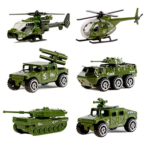 Nunkitoy Die-cast Military Vehicles,6 Pack Assorted Alloy Metal Army Vehicle Models Car...