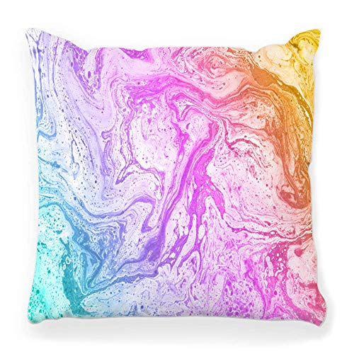 Fantastic Fairy Soft Square Pillow Cover 20x20 Abstract Colorful Texture Marble Paint Color Pink Water Liquid Multicolor Funky Grunge Ink Home