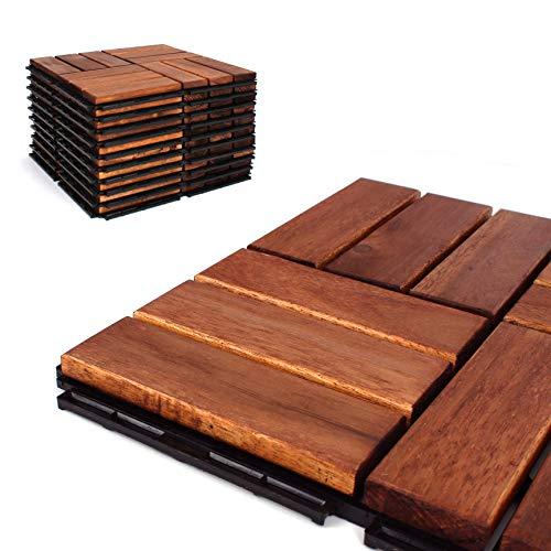 Deck Tiles - Patio Pavers - Acacia Wood Outdoor Flooring - Interlocking Patio Tiles - 12'x12' (6 Pack) - Oiled Acacia Finish - Checker Pattern Decking