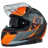 protectWEAR Casco moto integrale con visiera parasole integrata e visiera pieghevole 917-OG-XL, grigio arancio
