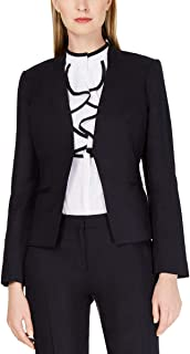 Womens Petites Open Front Collarless Jacket Navy 10P
