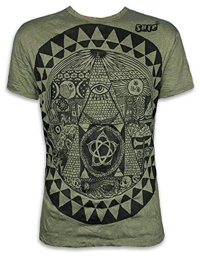 Sure Herren T-Shirt Pyramide All-sehendes Auge Illuminati Freimaurer Neue Weltordnung PSY (Olive Grün M)