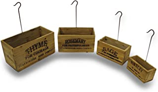 hanging wooden herb boxes
