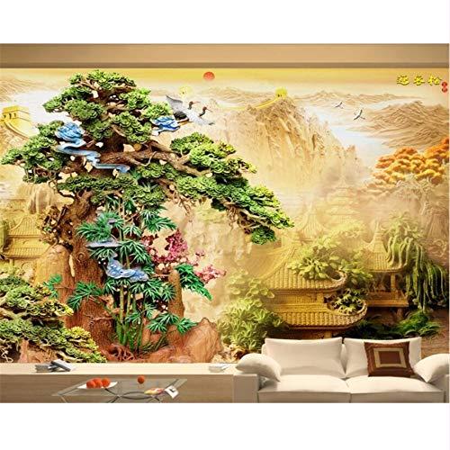 Pmhc Papier Peint 3D Boutique Sculpture Sur Bois Palais De Pin Toile De Fond De Style Chinois Papier Peint Décor À La Maison 3D Wallpaper Mural 450 x 300 cm.