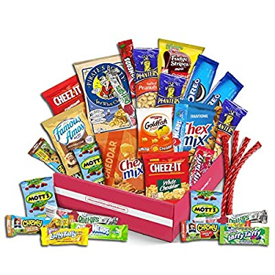 Christmas Gift Basket Holiday Snack Box Variety Pack, (30 Count) - College Student Care Package, Thanksgiving, Xmas Food Arrangement Chips, Cookies, Bars - Birthday Treats for Adults, Kids,