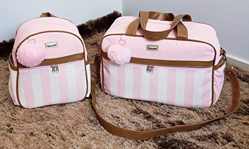 Bolsas de Maternidade Listrada 2 Peças com Mochila Material Térmico Impermeável Cor: Rosa