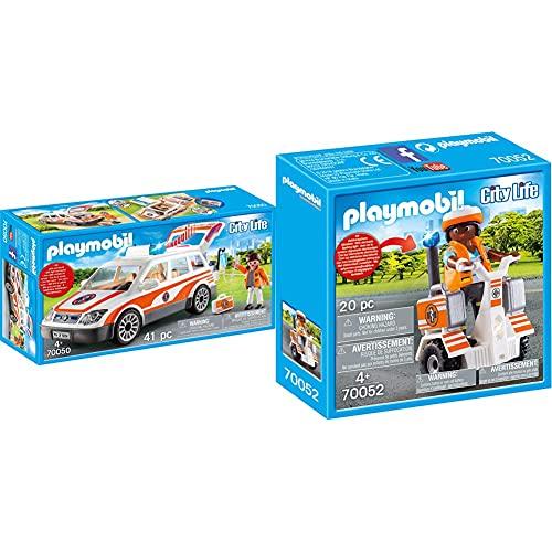 PLAYMOBIL City Life 70050 Notarzt-PKW mit Licht und Sound, Ab 4 Jahren & 70052 City Life Rettungs-Balance-Roller, bunt