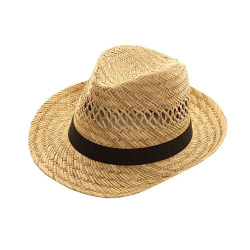 Pour homme 100% Paille pour l'été avec bande noire - Beige - Taille unique