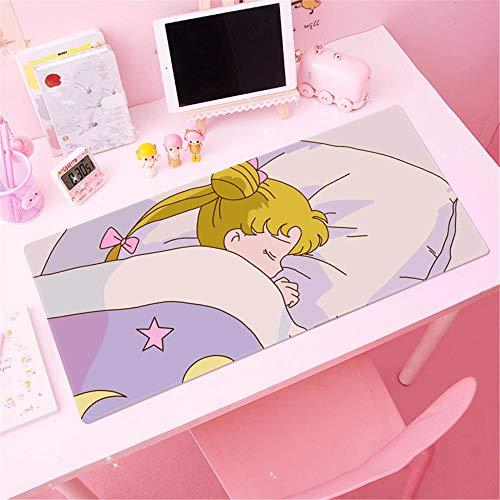 31.5x11.8 Pulgadas Juego De Color Rosa Alfombrilla De Ratón Animado De Sailor Moon Esterilla Antideslizante XL Linda Chica Tapete De Escritorio De Teclado (C)