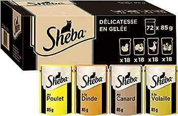 Sheba Mini Filets en gelée pour Chat Adulte – Nourriture Humide pour Chats - Sélection à la Volaille – Sachets Fraîcheur 72 x 85g