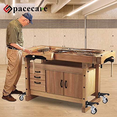 SPACECARE Workbench Casters kit 600Lbs Heavy Duty Quick Release 2 Mounting Options Retractable Workbench Stepdown Caster Wheels Adjustable Polyurethane Durable Steel Construction (Set of 4)