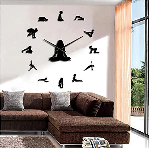 JKLMZYT Yoga Poses DIY Reloj de Pared Gigante sin Marco Encuentra tu Equilibrio Meditación Arte de la Pared Decoración para el hogar Reloj Grande Moderno Regalo de atención plena-37inch