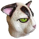 MYASOB Kostüm Kopf Maske Meow-Star, die Kopfbedeckung Tiermasken Kitty Cat Dämon Kopf Maske Unhappy Verärgerte Katze Gesichtsmaske Maske Persönlichkeit (Color : White)