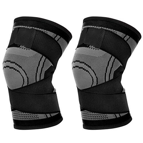 Kniebandage für Damen und Herren, 2 x Atmungsaktives Kniestützer für Sport Schutz und Rehabilitation, Kniebandage Knieschoner für Laufen, Wandern, Joggen, Sport, Volleyball