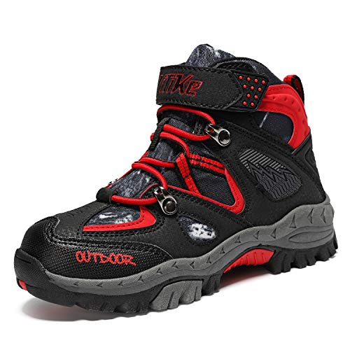 Kinder Wanderschuhe Winterschuhe Jungen Schneestiefel Warm Mädchen Outdoor Trekking Schuhe rutschfeste Mid Trekkingstiefel Schwarz Rot gr 29