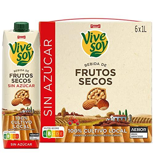 Vivesoy - Bebida de Frutos Secos Sin Azúcar - Pack de 6 x 1 L