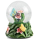 Elanze Designs Butterflies on Lilies Figurine 100MM Water Globe Plays Tune English Country...