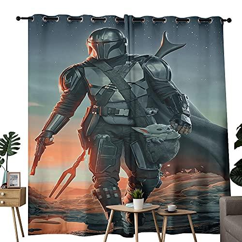 Cortinas colgantes Star Wars Mandalorian Art Poster adecuado para guardería y cortinas de cuidado del bebé, 2 paneles de 137 x 183 cm