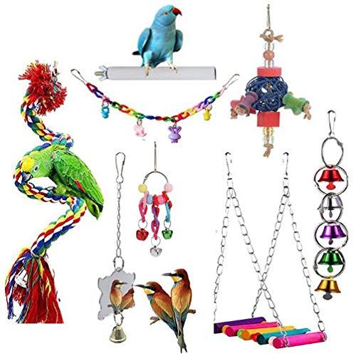 8 piezas de juguetes para pájaros hamaca colgante de madera loro columpio juguetes masticables para guacamayos periquito cacatúas Lovebird loros juguetes madera pájaros para periquitos