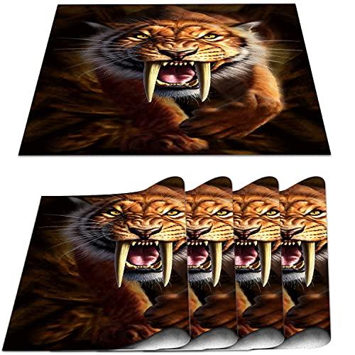 COFEIYISI Manteles Individuales Juego de 4,Tigre Dientes de Sable amarillo1 Salvamanteles Resistentes al Calor Lavables Vinilo PVC para la Mesa de Comedor de Cocina 30x45cm