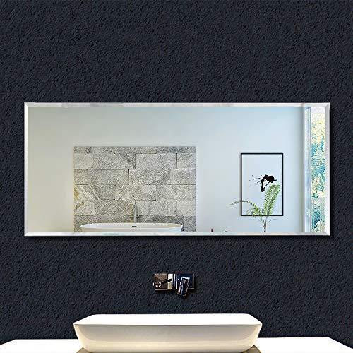 Miroir Mural rectangulaire 120x45cm Miroir de Salle de Bain Miroir biseauté Standard Meuble Salle de Bain