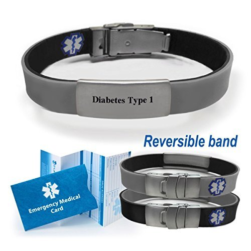 'Diabetes Type 1' Sport/Slim Reversible Medical Alert...