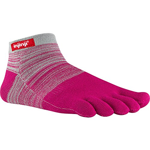injinji Sport Original Weight Micro Coolmax Socks, Large, Gray Magenta