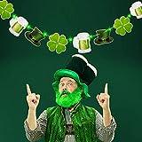 Hiboom St. Patrick's Day Decoration Banner Lucky Shamrock Clover Leprechaun HatBeers Garland Banner with 8 Modes Green String Lights for Irish Party Supplies