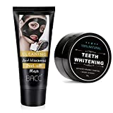 Sunvy Blackhead Remover Mark Deep Cleansing Mask Peel Off Black Mask Active Charcoal Tearing Mask+Charcoal Powder Natural Teeth Whitening Cleaning Set
