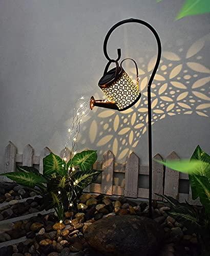 Riego solar Luz de jardín de hadas, luz de ducha de estrellas, linterna solar LED, linterna solar para al aire libre, lámparas de jardín solar, luces de trayectoria de decoración de jardín