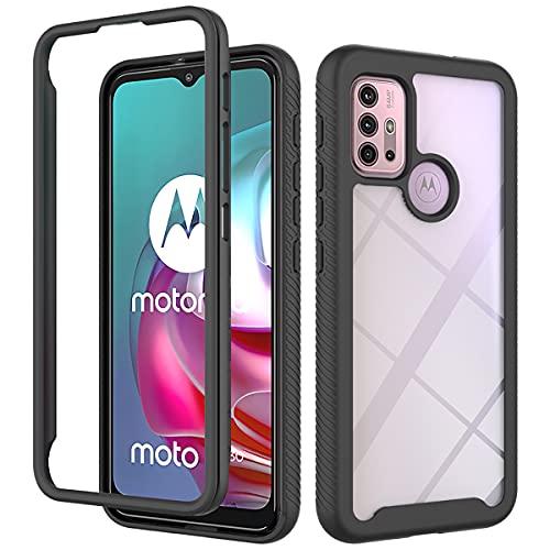JIAFEI Hülle für MotorolaMotoG10 / G30, Klare 360 Stoßfest Handyhülle Robuste Silikon Schutzhülle Schwer PC & Weich Schlank TPU Cover für MotorolaMotoG10 / G30 - Schwarz