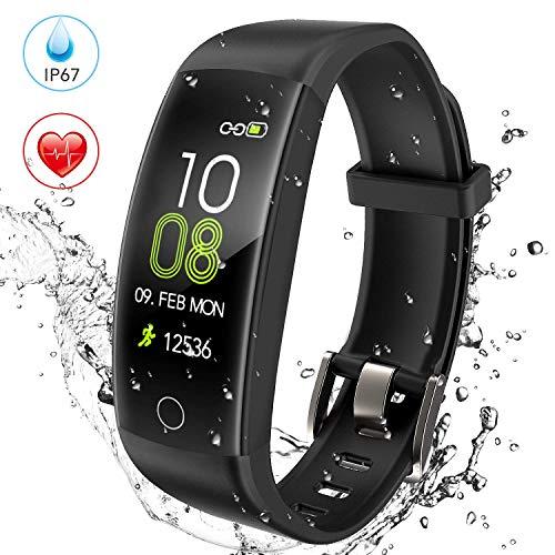 AGPTEK C30 Orologio Fitness Tracker Uomo Donna Bambini Sportivo Smartband Impermeabile IP67 con GPS Contapassi Calorie Monitor Ritmico Sonno per Android iOS, Nero