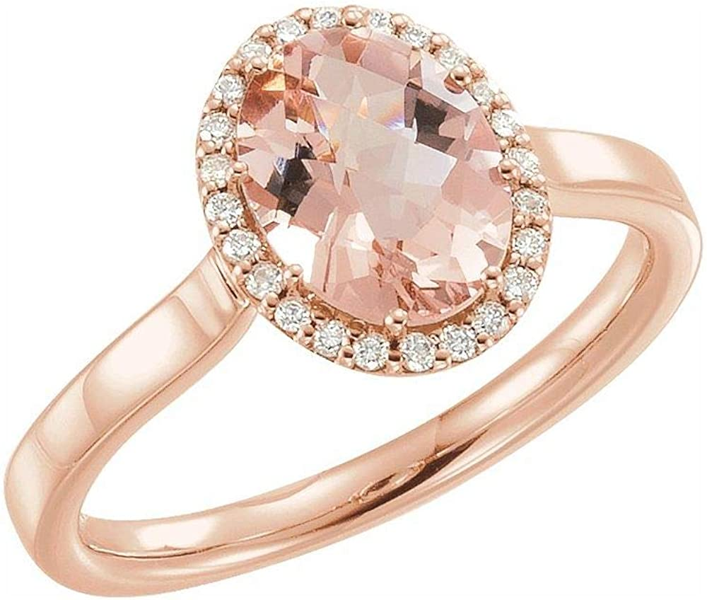 Solid 14k Rose Gold Nippon regular agency Morganite wholesale and 1 .1 Band 8 Cttw Ring Diamond